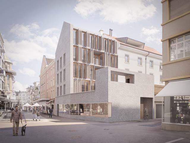 Rendu extérieur à la Unionsgasse 18 à Bienne, projet réalisé par Kistler Vogt Architekten AG