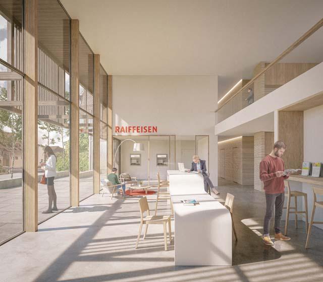 Rendu intérieur de la banque Raiffeisen à Assens, projet réalisé par Epure Architecture et Urbanisme SA