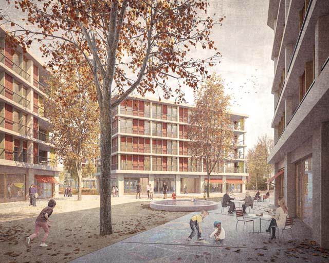 Rendu extérieur du projet Allee-/ Brühl-/ Mattenstrasse à Bienne, projet réalisé par Bart & Buchhofer Architekten AG