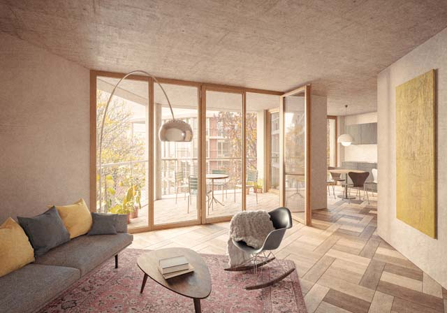Rendu intérieur du projet Allee-/ Brühl-/ Mattenstrasse à Bienne, projet réalisé par Bart & Buchhofer Architekten AG