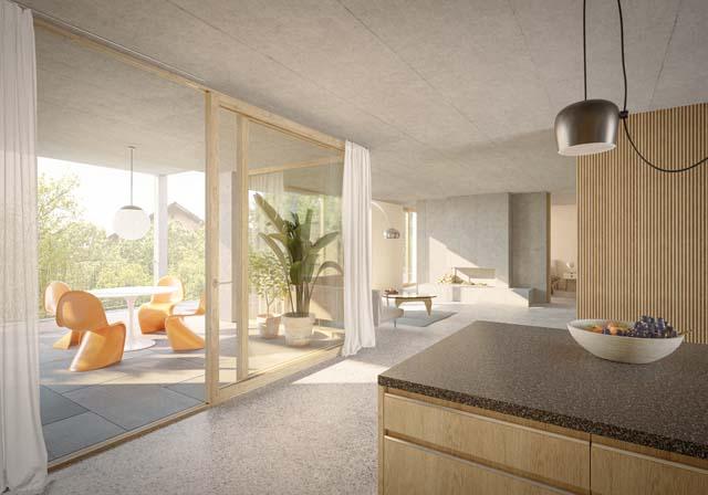 Rendu intérieur du projet Dorfkern à Ipsach, projet réalisé par ARGE Wahliruefli und Rollimarchini