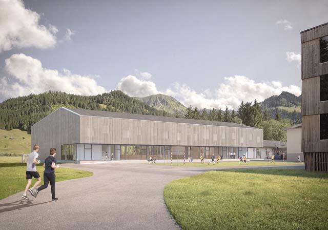 Rendu extérieur de la salle de sport triple, projet réalisé par Epure Architecture et Urbanisme SA