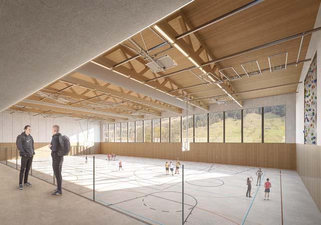 Rendu intérieur de la salle de sport triple, projet réalisé par Epure Architecture et Urbanisme SA
