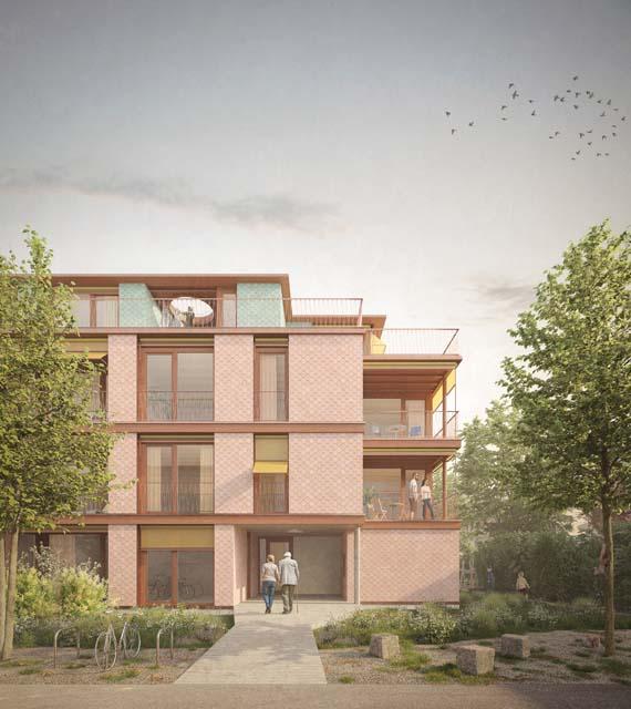 Rendu extérieur des logements Pré-Colomb à Versoix, projet réalisé par BBH Architectes Sàrl