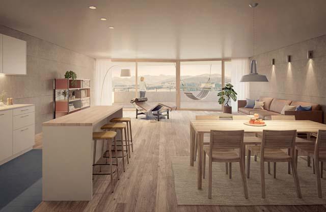 Rendu intérieur de Alte Landi, projet réalisé par Baeriswyl Architekten AG