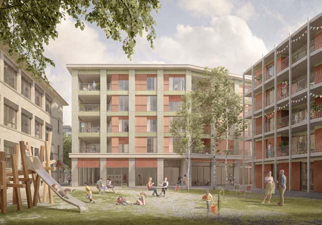 Rendu extérieur du projet Comadur-Areal à Thun, projet réalisé par Bart & Buchhofer Architekten AG