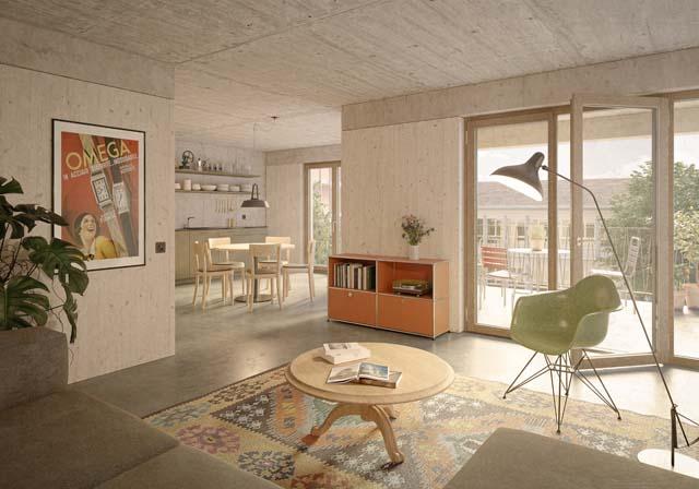 Rendu intérieur du projet Comadur-Areal à Thun, projet réalisé par Bart & Buchhofer Architekten AG