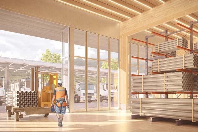 Rendu intérieur 1 du centre technique et logistique de Sierre, projet réalisé par Epure Architecture et Urbanisme SA