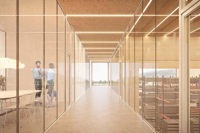 Rendu intérieur 2 du centre technique et logistique de Sierre, projet réalisé par Epure Architecture et Urbanisme SA